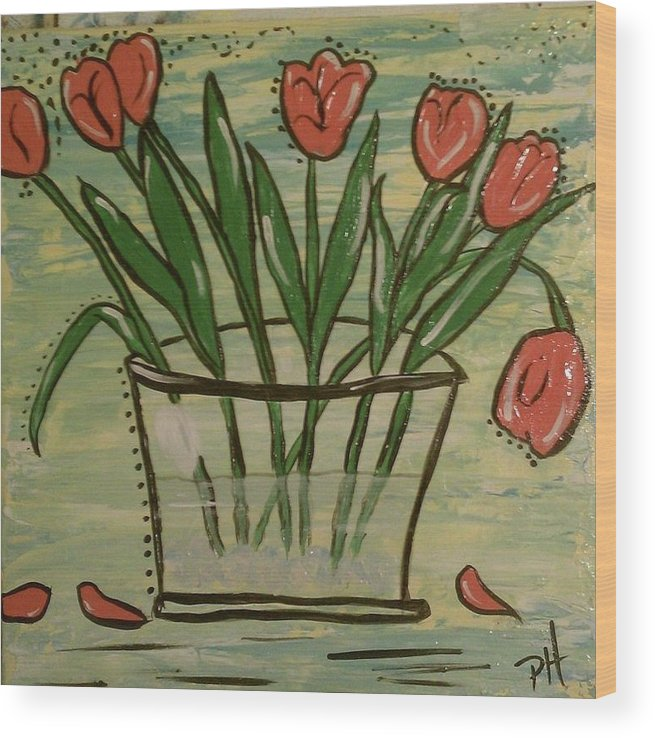 Folk Art Wood Print featuring the painting Whimsical Tulips by Patti Spires Hamilton