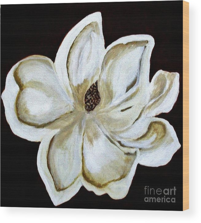 Painting Wood Print featuring the painting White Magnolia On Black by Marsha Heiken