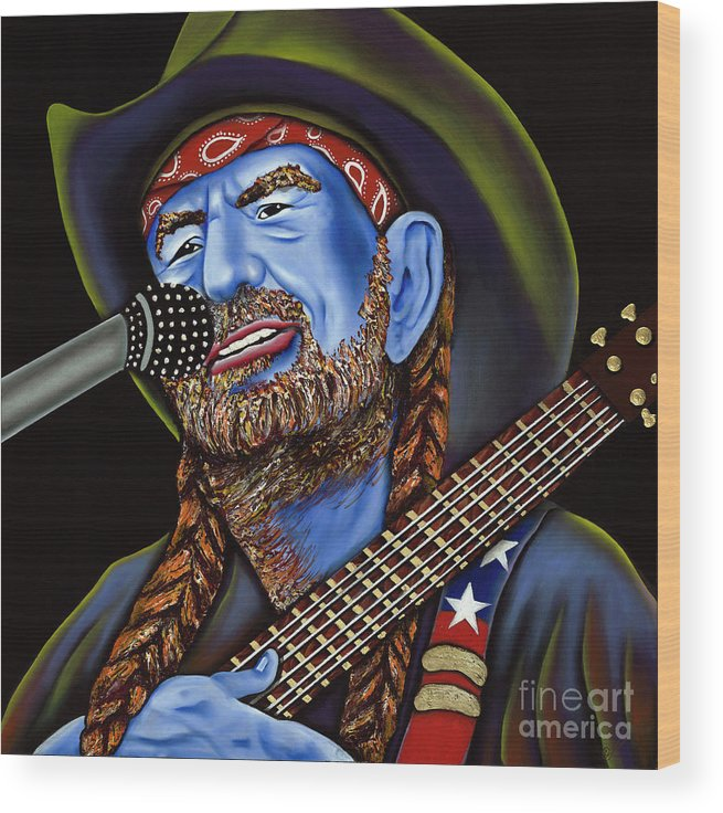 Portrait Wood Print featuring the painting Willie by Nannette Harris