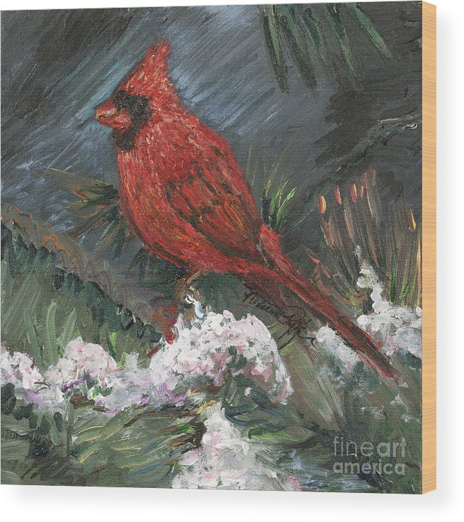 Bird Wood Print featuring the painting Winter Cardinal by Nadine Rippelmeyer