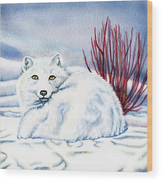 Winter Wood Print featuring the painting Winter Fox by Antony Galbraith