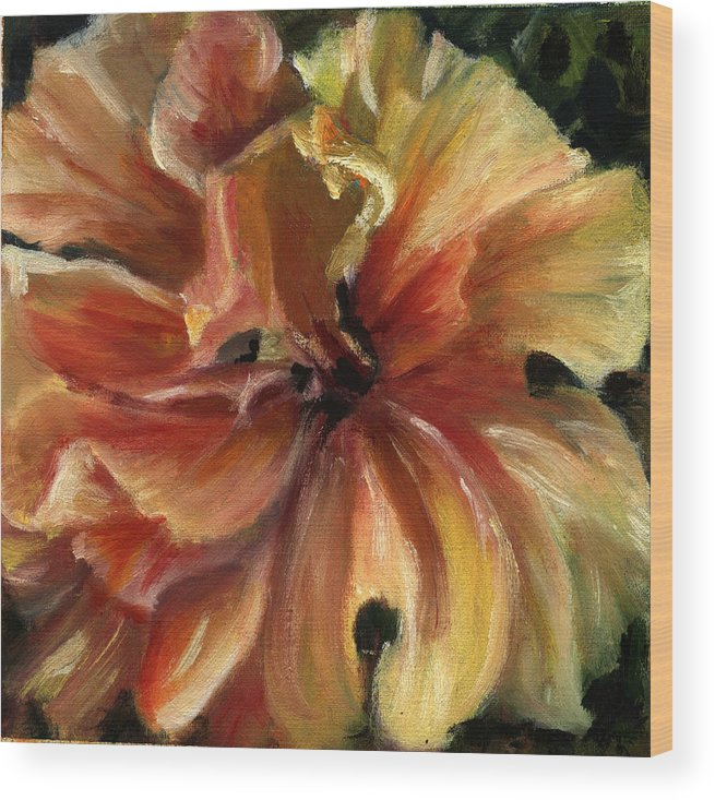 Yellow Hibiscus Floral Wood Print featuring the painting Yellow Hibiscus by Patricia Halstead