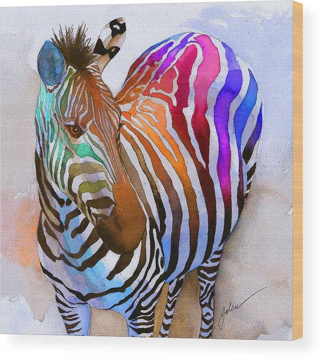 Colorful Wood Print featuring the painting Zebra Dreams by Galen Hazelhofer