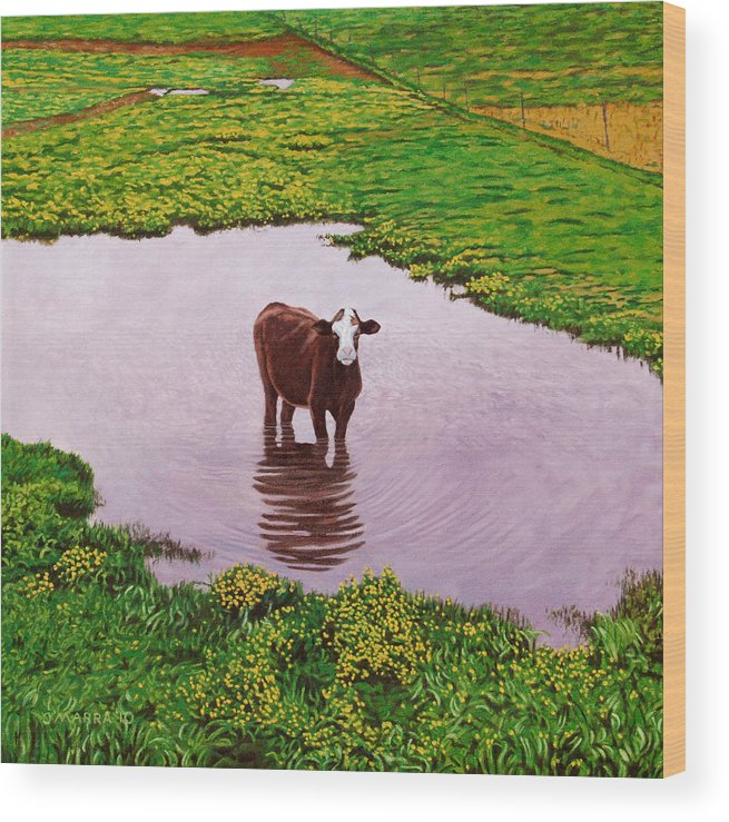 Cow Wood Print featuring the painting Zen Cow by Allan OMarra