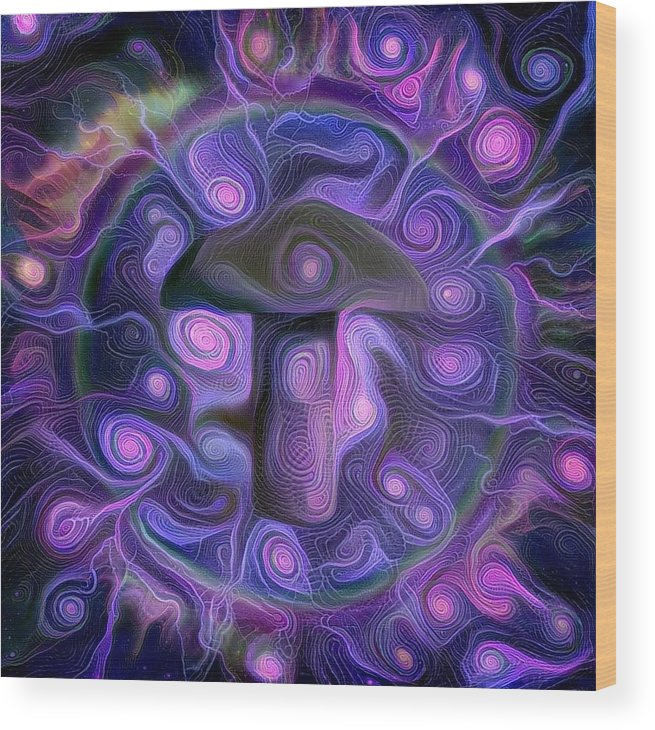 Abstract Wood Print featuring the digital art Hallucinogenic Mushroom by Bruce Rolff