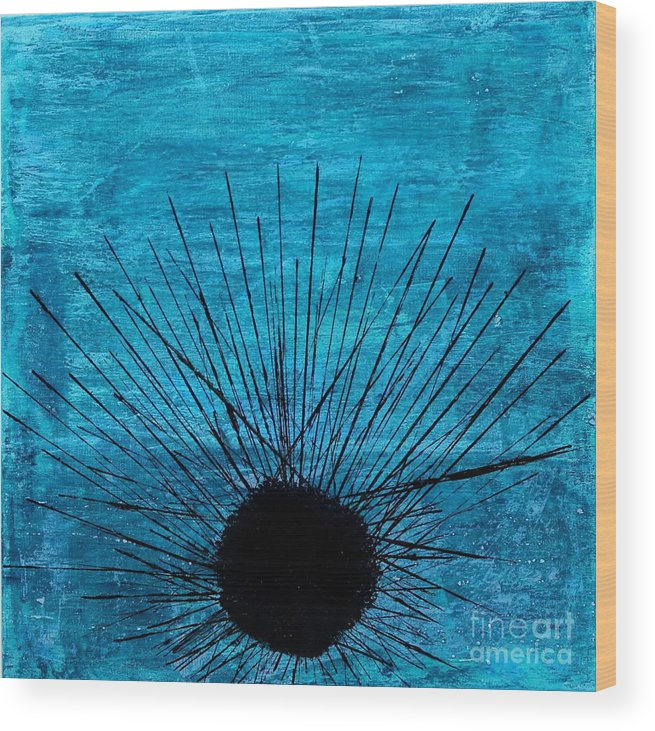 Aphrodisiac Sex Love Libido Urchin Uni Sea Coastal Coast Beach Beachhouse Ocean Oceans Sea Sealife Sea Marine Marina Hampton Hamptons Beachy Waves Wave Seascape Coral Reef Reefs Navy Peaceful Tranquil Relaxing Calm Calming Relax Vacation Island Hawaii Bahama Cancun Fiji Zen Meditate Resin Abstract Modern Minimal Minimalist Contemporary Wood Print featuring the painting Aphrodisiac by Kelly Gowan
