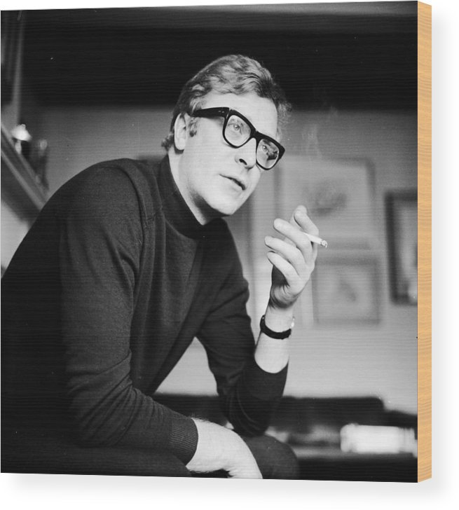 Smoking Wood Print featuring the photograph Caine Smoking by Evening Standard