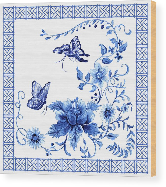Butterflies Wood Print featuring the painting Chinoiserie Blue And White Pagoda With Stylized Flowers Butterflies And Chinese Chippendale Border by Audrey Jeanne Roberts