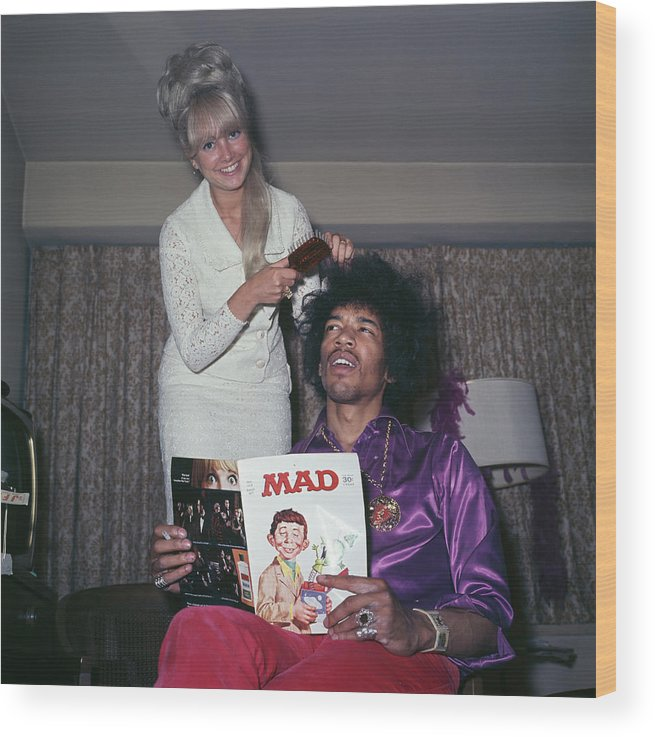 Rock Music Wood Print featuring the photograph Hendrix Hair by Rolls Press/popperfoto