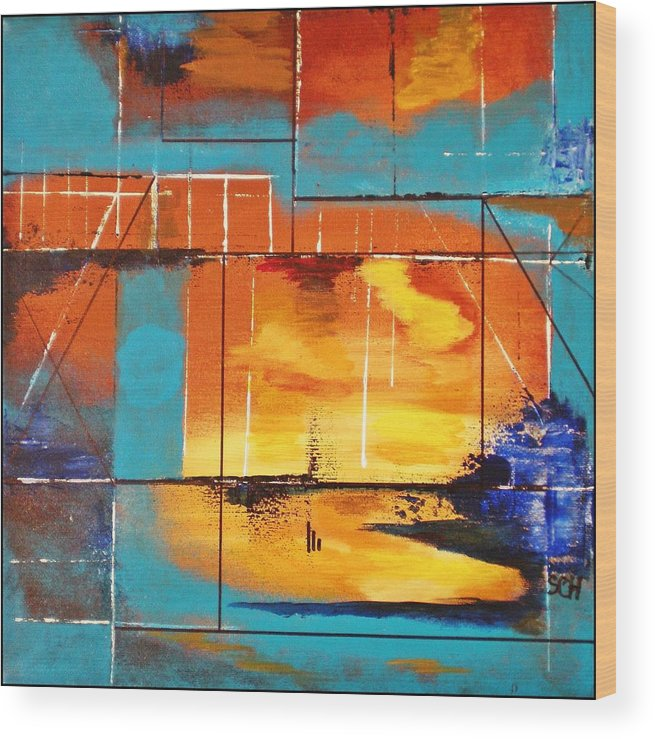 Abstract Wood Print featuring the painting Sweet Light Of Dawn - Or - Windows To Illusion by Scott Haley