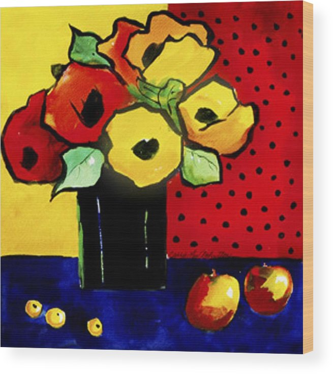 Painting Wood Print featuring the painting Favorite Funny Flowers 2 by Carrie Allbritton