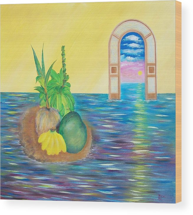 Still Life Wood Print featuring the painting Tropical Still Life by Tony Rodriguez