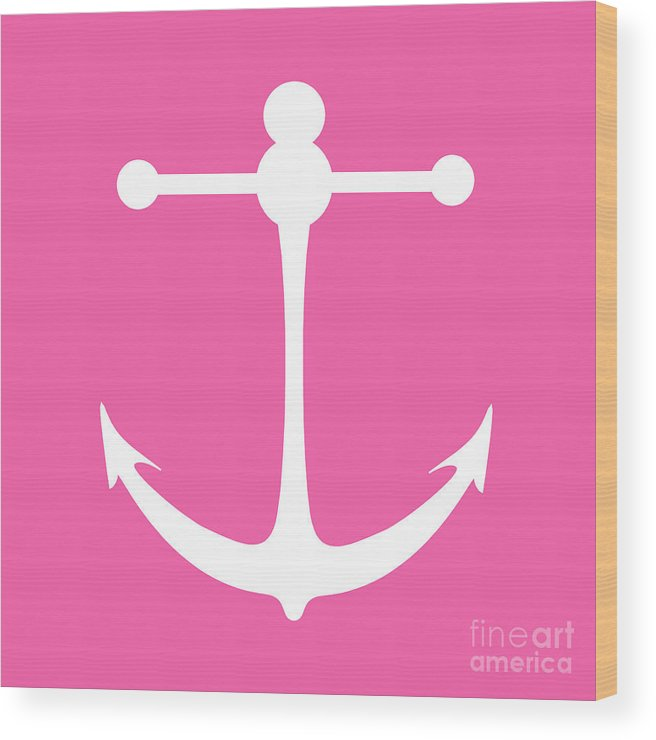 Graphic Art Wood Print featuring the digital art Anchor In Pink And White by Jackie Farnsworth