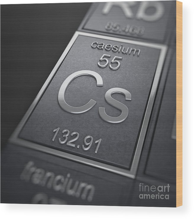 Caesium Wood Print featuring the photograph Caesium Chemical Element by Science Picture Co