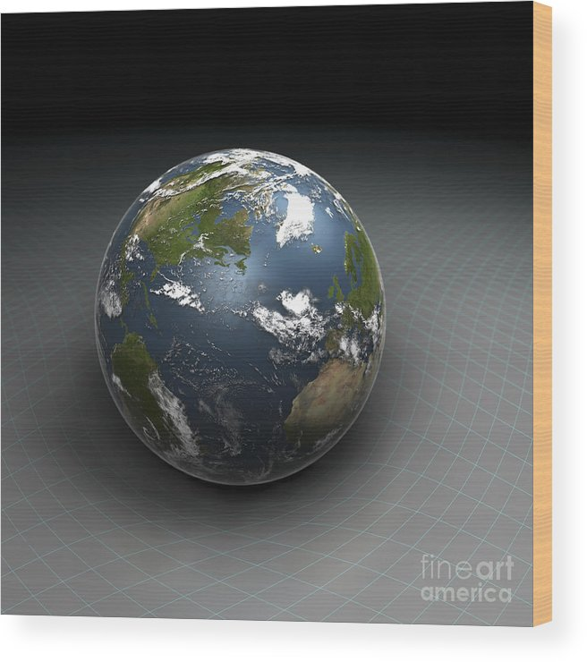 Digitally Generated Image Wood Print featuring the photograph Earths Gravity by Science Picture Co