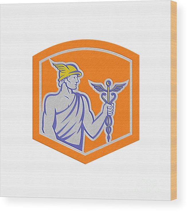 Metallic Wood Print featuring the digital art Mercury Holding Caduceus Staff Shield Retro by Aloysius Patrimonio