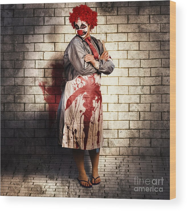 Clown Wood Print featuring the photograph Murderous Monster Clown Standing In Full Length by Jorgo Photography - Wall Art Gallery