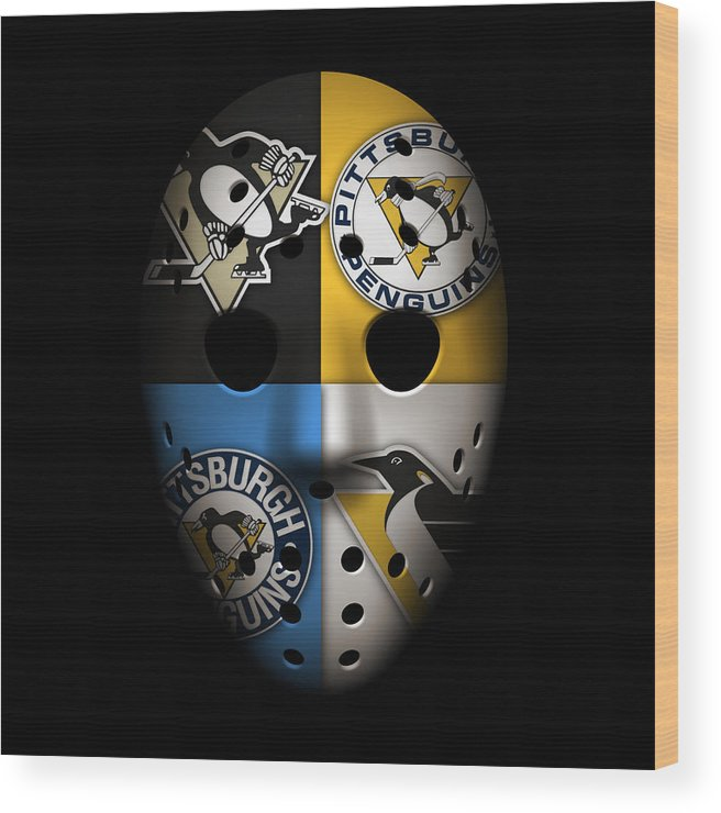 Penguins Wood Print featuring the photograph Penguins Goalie Mask by Joe Hamilton