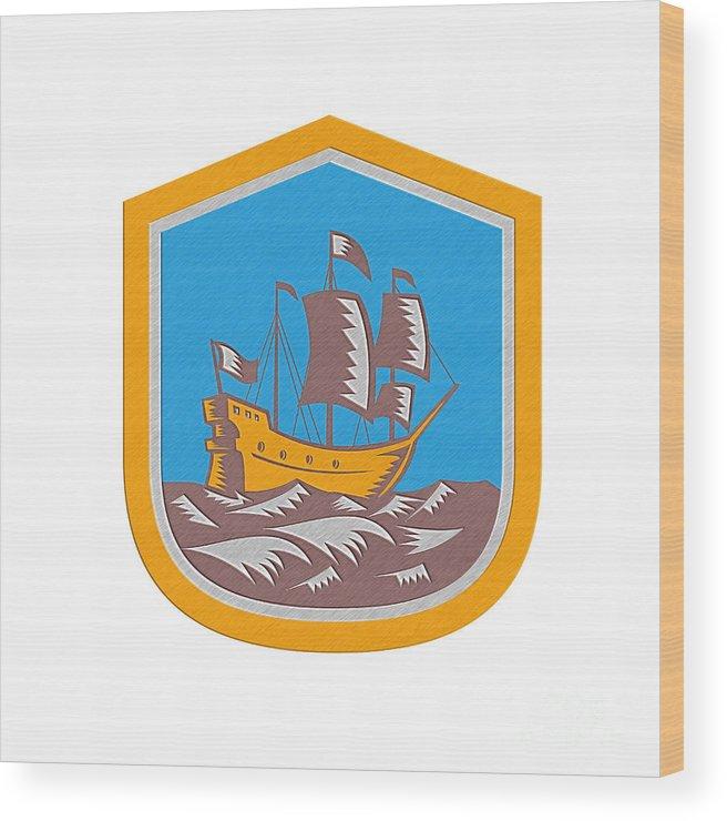 Metallic Wood Print featuring the digital art Sailing Ship Galleon Crest Retro Woodcut by Aloysius Patrimonio