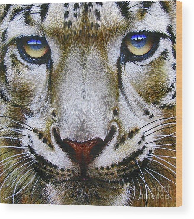 Snow Leopard Wood Print featuring the painting Snow Leopard by Jurek Zamoyski