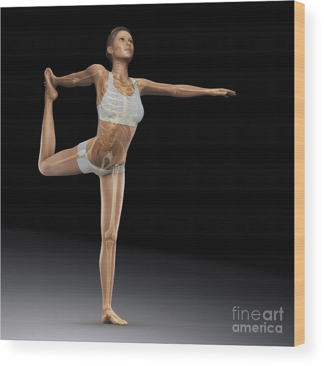 Digitally Generated Image Wood Print featuring the photograph Yoga The Dancers Pose by Science Picture Co