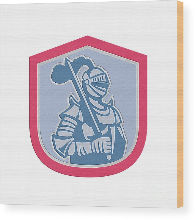 Metallic Wood Print featuring the digital art Knight Full Armor With Sword Shield Retro by Aloysius Patrimonio