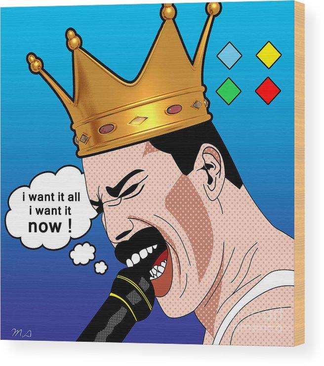 Freddie Mercury Wood Print featuring the digital art Freddie Mercury by Mark Ashkenazi
