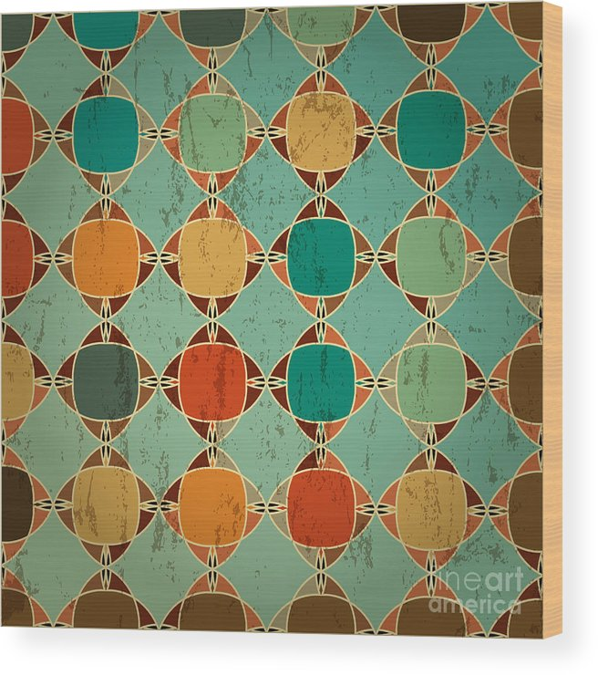 Color Wood Print featuring the digital art Abstract Geometric Pattern Background by Kirsten Hinte