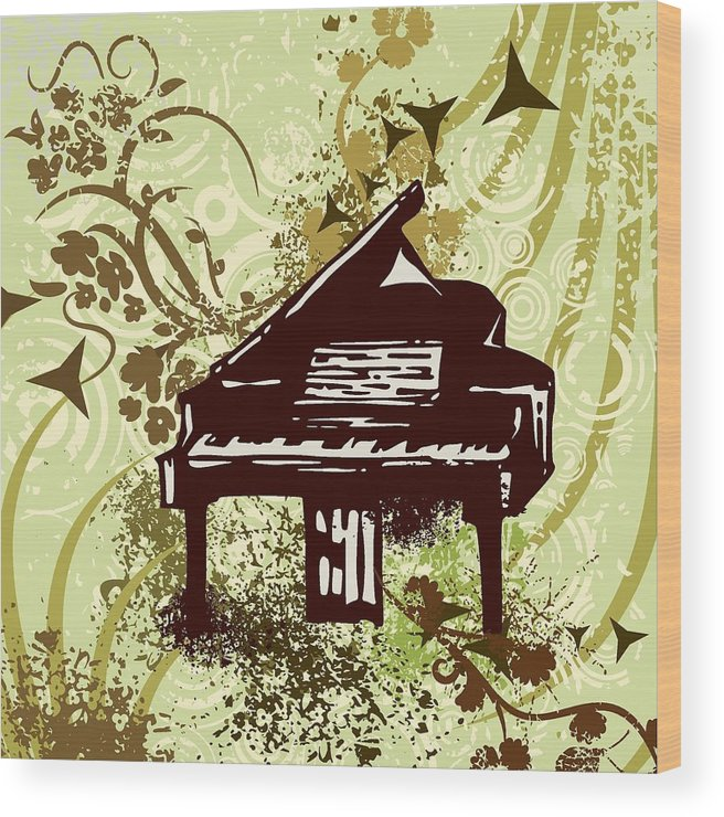 Vector Wood Print featuring the drawing Musical Backgrounds With Instraments by ClipartDesign