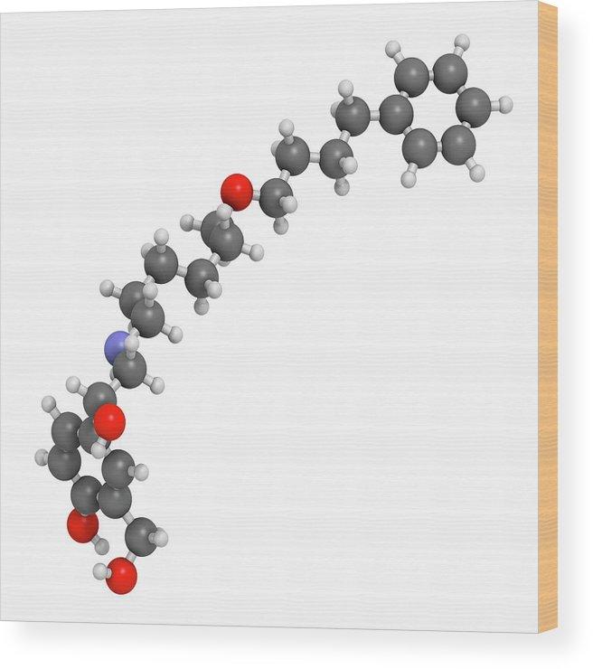 Artwork Wood Print featuring the photograph Salmeterol Asthma Drug Molecule by Molekuul