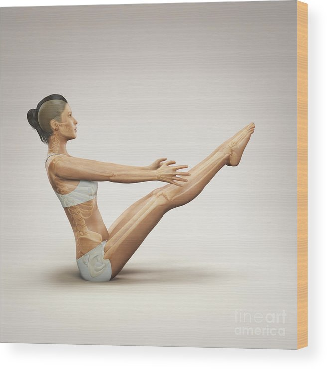 Digitally Generated Image Wood Print featuring the photograph Yoga Boat Pose by Science Picture Co