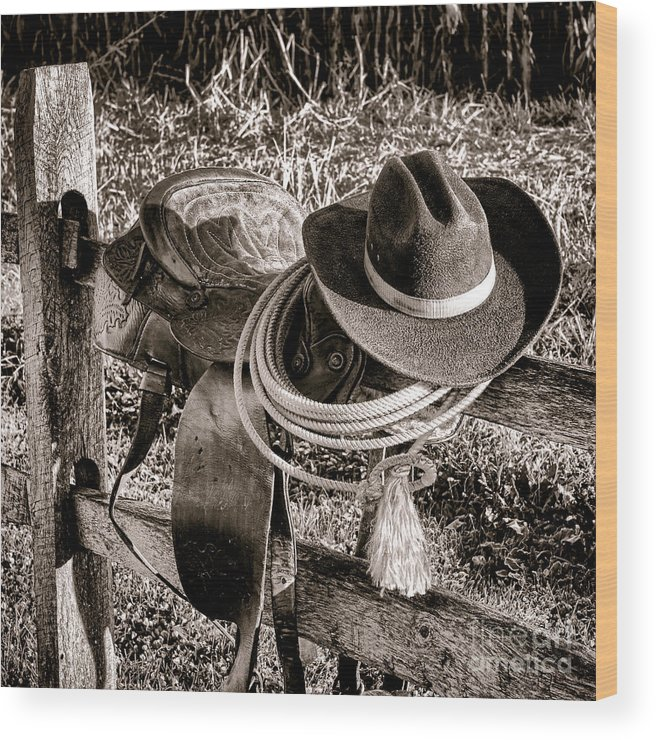 Rodeo Wood Print featuring the photograph A New Workday For The Cowboy by Olivier Le Queinec