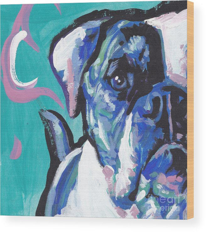 American Bulldog Wood Print featuring the painting American Bully Boy by Lea S