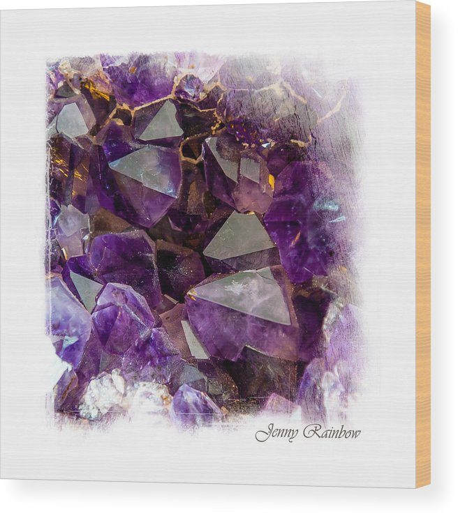 Amethyst Wood Print featuring the photograph Amethyst Crystals. Elegant Knickknacks From Jenny Rainbow by Jenny Rainbow