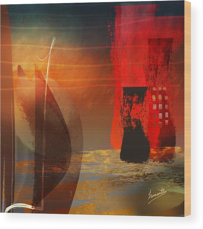 Modern Wood Print featuring the painting Anticipation by Himanthi Wanninayake