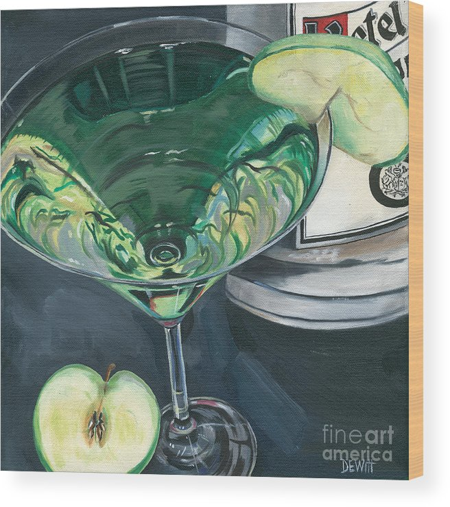 Apple Wood Print featuring the painting Apple Martini by Debbie DeWitt