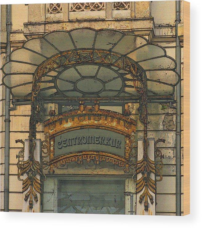 Art Nouveau Wood Print featuring the digital art Art Nouveau Doorway In Ljubljana by Greg Matchick