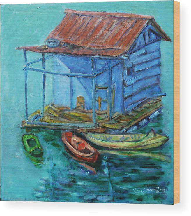 Landscape Wood Print featuring the painting At Boat House by Xueling Zou