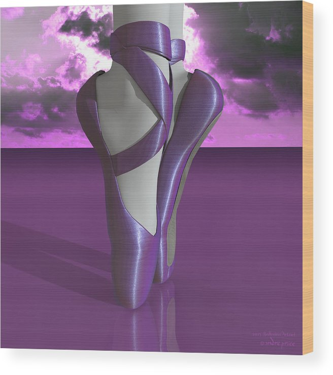 Ballerina Toe Shoes Decor - Ballerina Dancing Ballet On Pointe In Toe Shoes Otherwise Called Pointe Shoes. The Shoe Was Meticulously Engineered And Designed To Support Ballet Toe Dancing By Making It A Lot Easier For The Performer. Wood Print featuring the digital art Ballet Toe Shoes Over Colorful Lavender Clouds by Alfred Price