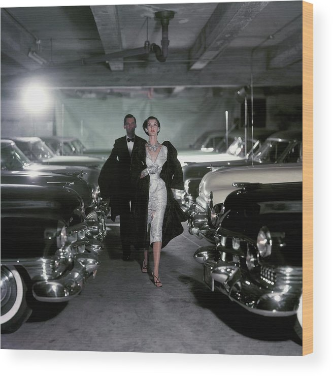 Fashion Wood Print featuring the photograph Barbara Mullen With Cars by John Rawlings