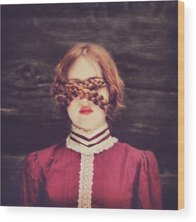 Surreal Wood Print featuring the photograph Blinded Surreal Portrait In Burgundy With Braids by Elle Moss