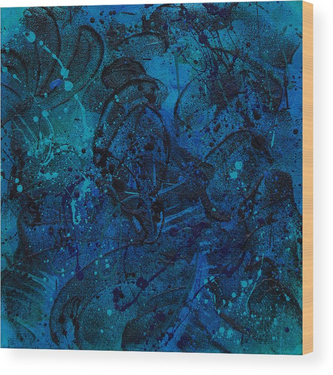 Modern Wood Print featuring the painting Blue Lava Flow by Julie Acquaviva Hayes