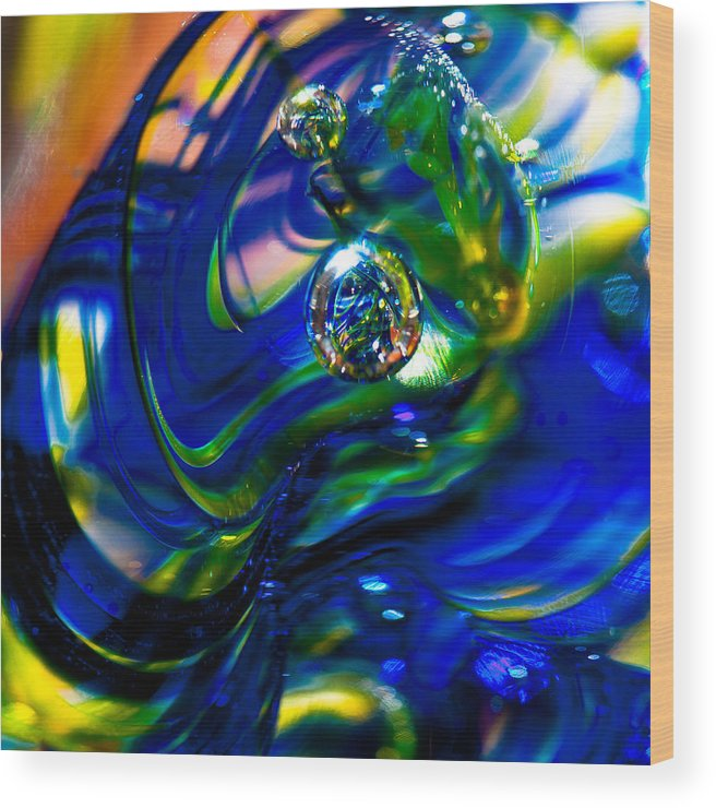 Glass Wood Print featuring the photograph Blue Swirls by David Patterson