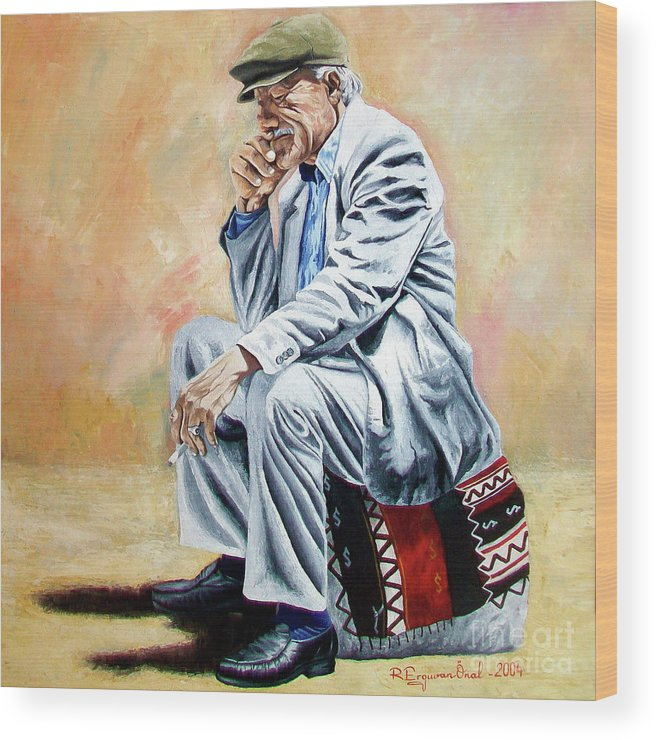 Figurative Wood Print featuring the painting Break For Smoking - Apeadero Para Fumar by Rezzan Erguvan-Onal