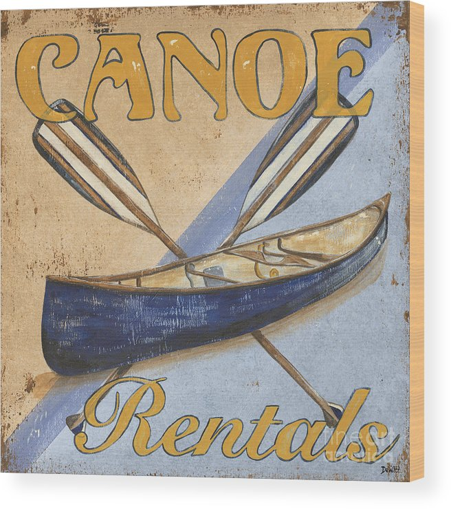 Live Wood Print featuring the painting Canoe Rentals by Debbie DeWitt