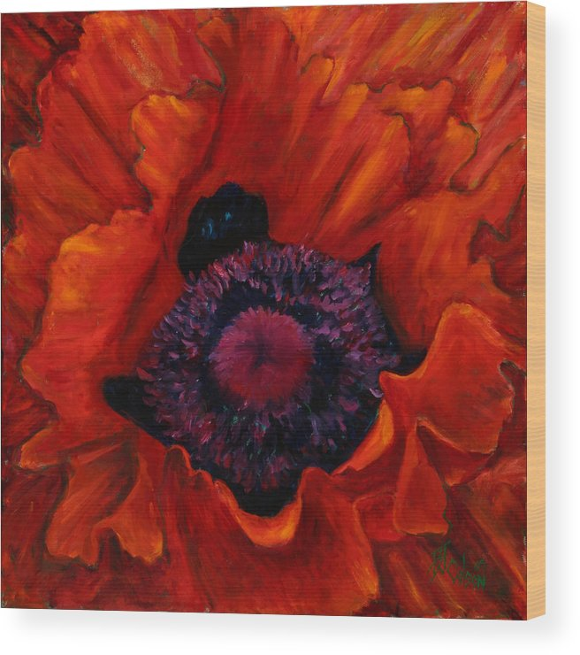 Red Poppy Wood Print featuring the painting Close Up Poppy by Billie Colson