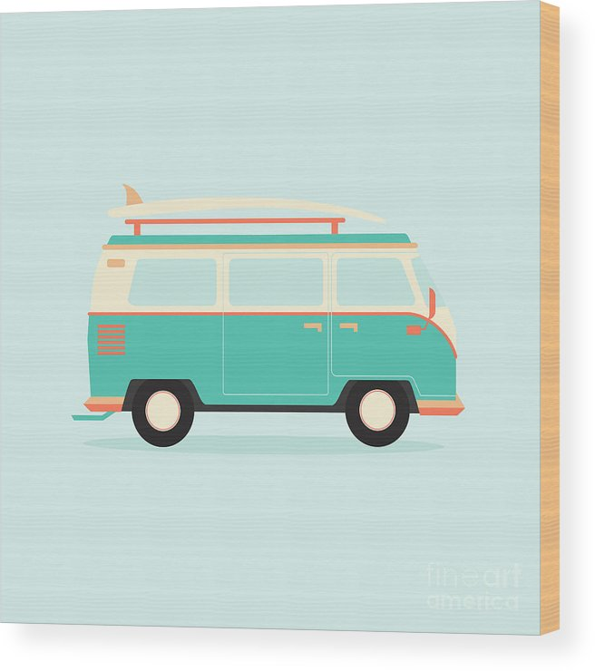 Bus Wood Print featuring the digital art Color Full Surfer Van. Transportation by Guaxinim