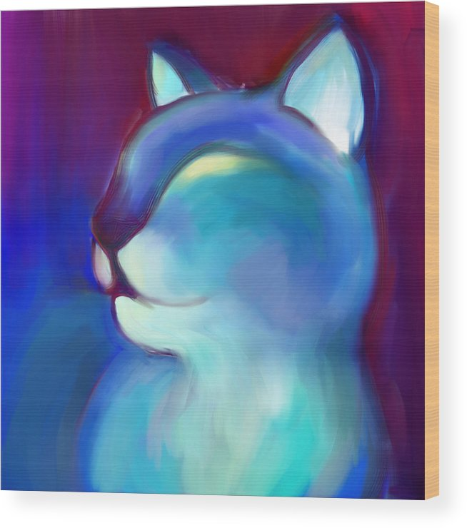 Colorful Cat Wood Print featuring the digital art Colorful Cat 3 by Anna Gora