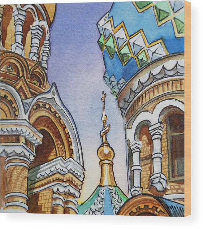 Russia Wood Print featuring the painting Colors Of Russia St Petersburg Cathedral II by Irina Sztukowski