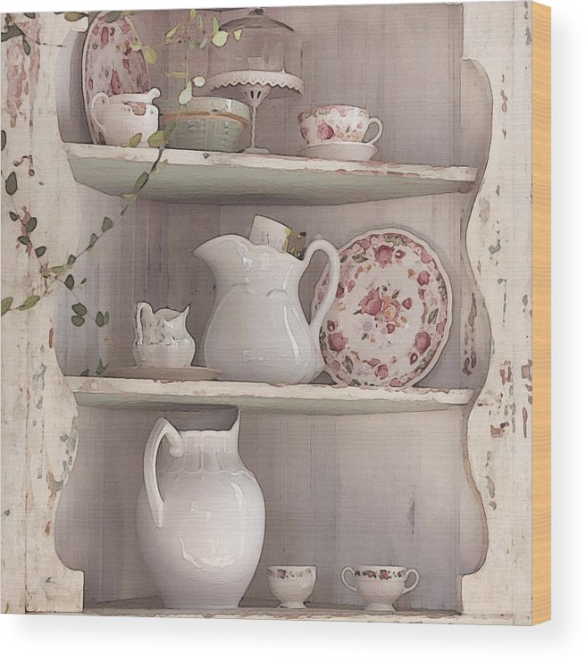 Shabby Chic Wood Print featuring the photograph Corner Cupboard by Art Block Collections